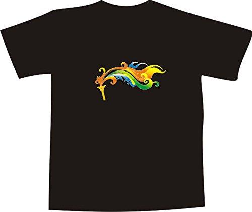 T-Shirt E486 Schönes T-Shirt mit farbigem Brustaufdruck - Logo / Grafik - abstraktes Design - olympisches Feuer - Olympia Mehrfarbig