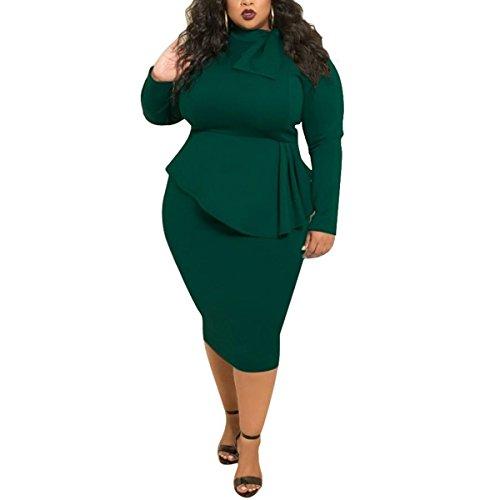 Fliege Mock Neck Plus Größe Frauen Bodycon Bleistift Langarm Party Arbeit Kleid (Farbe : Deep Green, Größe : 3XL)