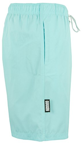 GUGGEN MOUNTAIN Herren Badeshorts Beachshorts Boardshorts Badehose mit Palmen *High Quality Print* Gruen-Blau