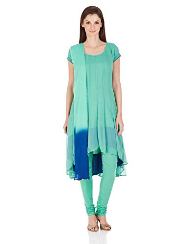 BIBA Women Asymmetrical Hemline Salwar Suit Sets (Skd # 3946_Green_42)