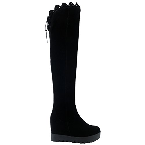 ENMAYER Femmes Suede Round Toe Wedge Heel Au Cours des Bottes de Plate-forme du Genou Avec Fermeture à Glissière et de la Dentelle Noir