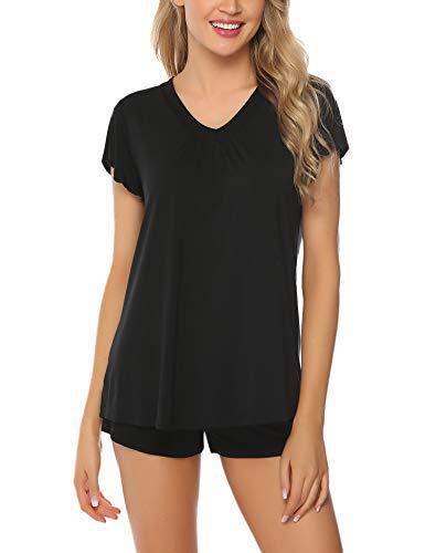 Aibrou Pyjama Damen Kurz Shorty Baumwolle Schlafanzug Kurzarm Nachtwäsche Set Sleepwear V-Ausschnit mit Ruffle Sleeve Schwarz S -