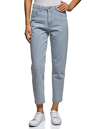 Oodji ultra donna jeans mom fit a vita alta, blu, 27w / 32l (it 42 / eu 38 / s)
