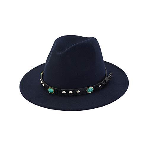 Damenhut Wide Flat Brim Wollfilz Jazzhut Western Western Cowboyhut Floppy Hat Hut (Farbe : Dunkelblau) Justin Womens Hut
