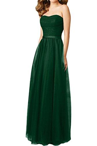 Gorgeous Bride Hochwertig Lang Traegerlos A-Linie Satin Tuell Spitze Abendkleider Festkleid Ballkleid Dunkelgruen