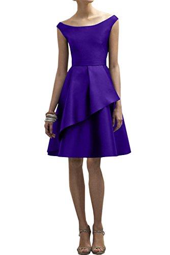 Ivydressing Damen Einfach kurz Abendkleider A-Linie Brautjungfernkleid Festkleider Violett