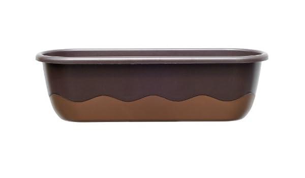 Plastia Mareta Blumenkasten Braun Bronze  60 cm Wasserspeicher Balkon ohne Haken