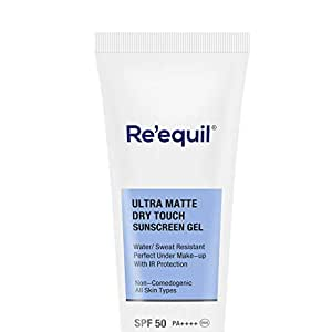 RE' EQUIL Ultra Matte Dry Touch Sunscreen Gel SPF 50 PA++++, Water resistant with Zinc Oxide and Titanium Dioxide