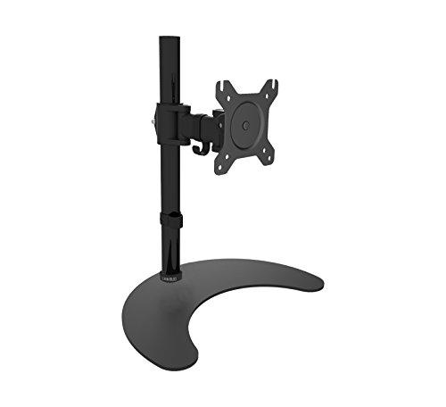Duronic Steel DM25D1 Single LCD LED Freestanding Desk Mount Monitor Arm Stand Bracket with Tilt and Swivel + 10 Year Warranty - (Adjustable Monitor Arm: Tilt ±90/35° Swivel 60° Rotate 360°)