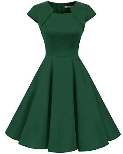HomRain Damen 50er Vintage Retro Kleid Cocktail Party Kurzarm Rockabilly Abendkleider Dark Green M