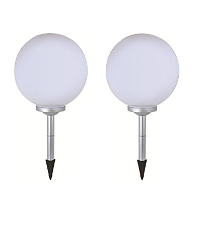 2 x LED Solar-Kugelleuchte Marla Solar-Kugellampe Solarleuchte Gartenleuchte mit Erdspieß, Durchmesser 20cm Kugelleuchte Gartenkugel