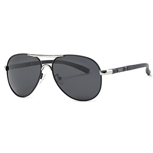 kimorn Polarizado Gafas de sol Hombre Retro metal Marco 5 Colores K0553 (Plata&Negro)