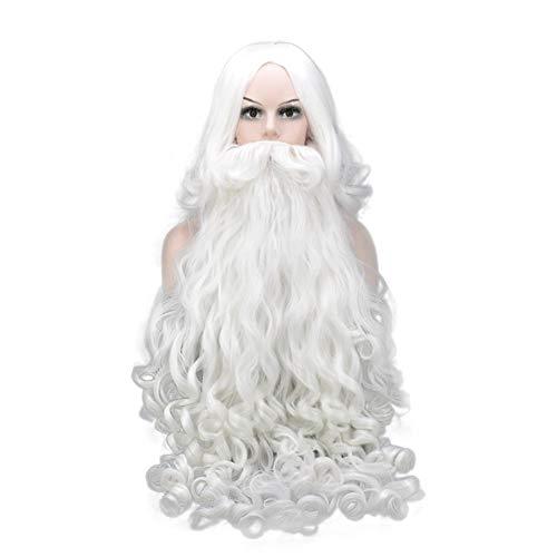 Wxyfl Santa Perücke Weihnachten Kostüm Zubehör Weihnachtsmann Perücke und Bart Sets für Nikolaustag Erwachsene Santa Claus Nikolaus Weihnachtsperücke Nikolausperücke - Braun Bart Kostüm