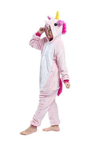 DarkCom Kinder Flanell Kigurumi Onesies Einhorn Cosplay Jumpsuit Cute Outfit Nachtwäsche Rosa