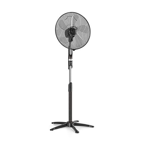 KLARSTEIN Summer Vibe Standventilator Standlüfter - mit 5 Flügeln, 55 W, 3 Stufen, 2040 m³/h Luftdurchsatz, Oszillation: 65°, einfache Bedienung mit Grip-Shift, schwarz