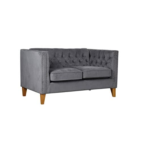 Birlea Florence Medium Sofa Grey Velvet, 80x135x77 cm