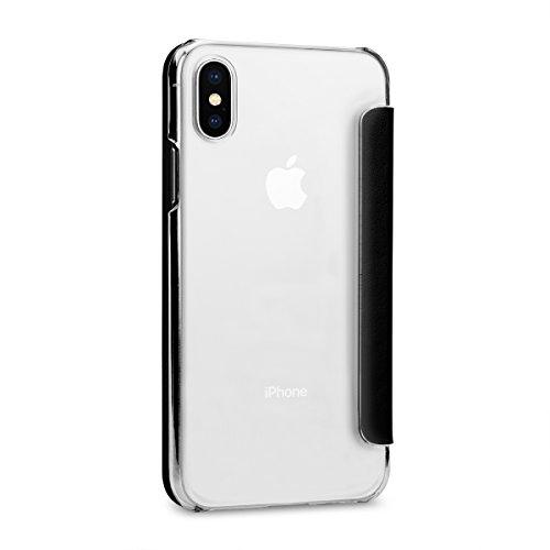 StilGut Hülle kompatibel mit iPhone X aus Leder und durchsichtiges TPU mit NFC/RFID Blocker. Schwarz/transparent