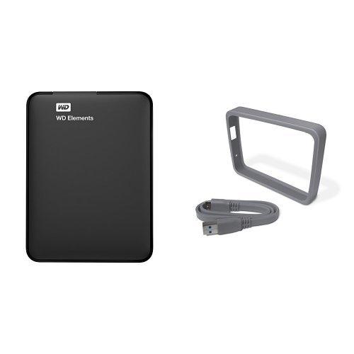 WD Elements - Disco duro externo portátil de 1 TB con USB 3.0, color negro + WD Grip Pack - Funda de disco duro para My Passport Ultra (incluye cable USB 3.0), humo