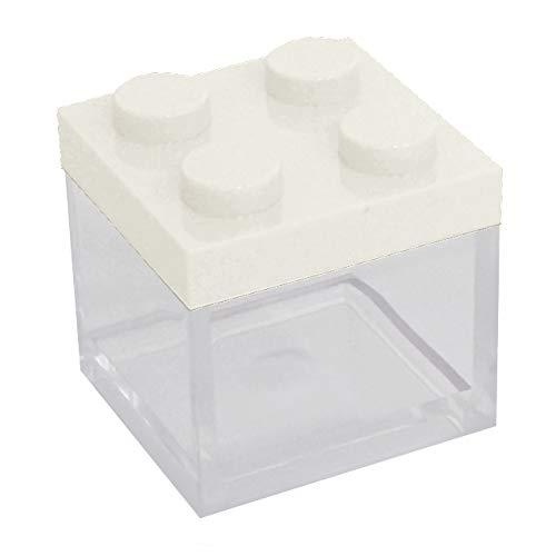 Omada design scatolina portaconfetti in plexiglass, 48 pezzi, tipo mattoncino formato 5 x 5 x 5 cm, bomboniere trasparenti, idea regalo per cerimonie, coperchio bianco