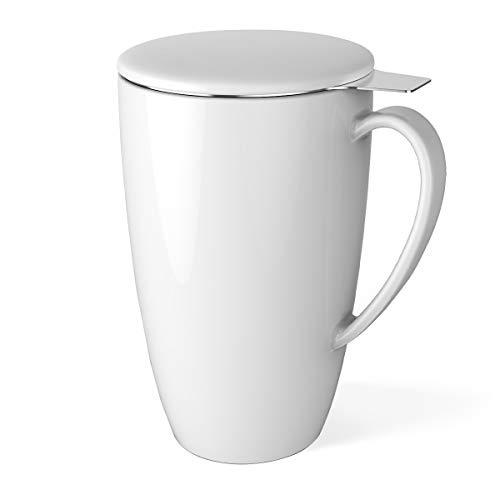 Sweese 2102 Teetasse mit Deckel und Sieb, Becher aus Porzellan für Losen Tee Oder Beutel, Weiß, 400 ml - Tee-filter-tasse