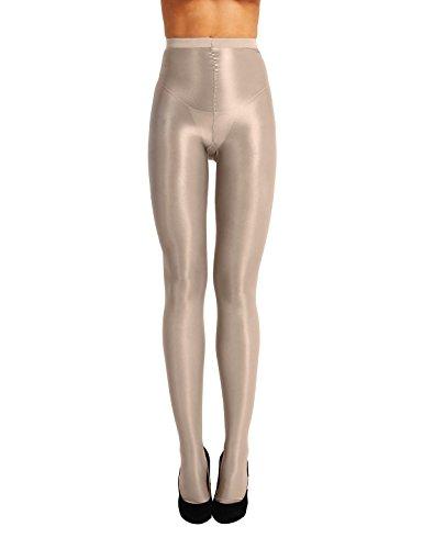 iixpin 70D Strumpfhose Damen gländzen Feinstrumpfhose transparente Sexy-Nylonstrumpfhose Beige