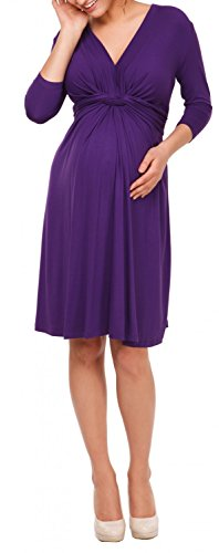 Happy Mama. Femme Robe patineuse maternité grossesse. Noeud. Manches 3/4. 786p Pourpre