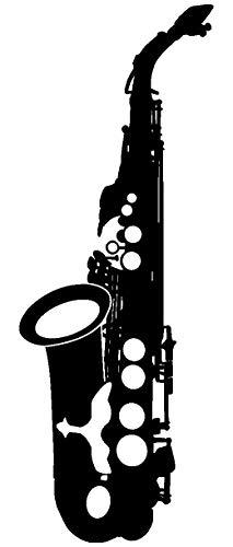 Samunshi® Wandtattoo Saxophon Wand Tattoo in 6 Größen und 19 Farben (36x100cm schwarz)