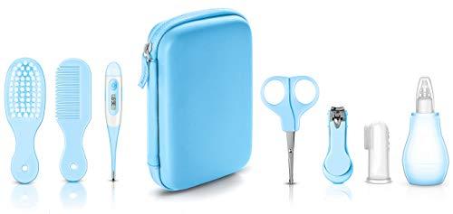 Baby Pflegeset | Baby Pflege Produkte | Baby Pflegeset Erstausstattung | Nagel und Nasen Pflege mit Tasche | aller Pflegeartikel von Vetté (Blau)