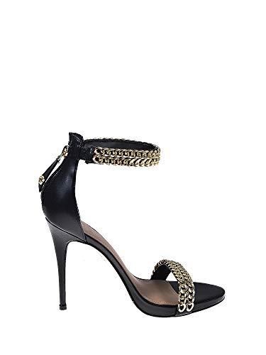 Guess Thaddea2/Sandalo (Sandal)/Leat, Scarpe con Cinturino alla Caviglia Donna, Nero, 39 EU