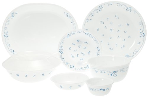 Corelle Essential Provincial Blue Round Dinner Set, 30-Pieces