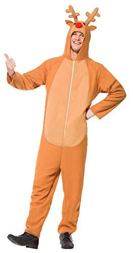Smiffys, Unisex Rentier Kostüm, All-in-One mit Kapuze, Größe: XL, 26951
