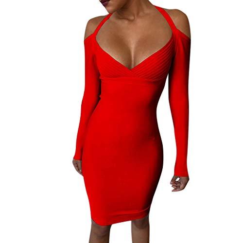 YUHUISTART Kleid Damen Sommer Sexy Solide Tiefem V Ausschnitt Gestreifte Mantel Cocktailkleid Bodycon Knielangen Party Cocktailkleid