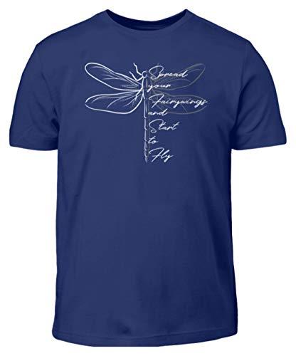 Breite die Flügel aus und flieg los | Libelle Zeichnung Inspiration und Motivation Spruch - Kinder T-Shirt -5/6 (110/116)-Indigo (Indigo Flug)