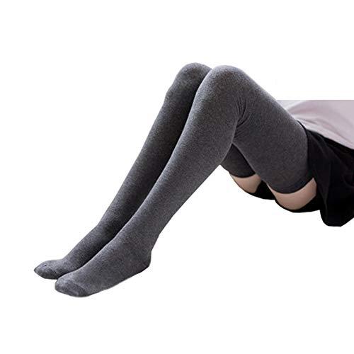 Bakicey Damen Kniestrümpfe Socken Overknee Strümpfe, Mädchen 80cm Strumpfhosen Baumwollstrümpfe Stützkniestrümpfe Gestrickte Strick Socken Hoch Über das Knie Lange Socken Winter Strümpfe (Dunkelgrau)