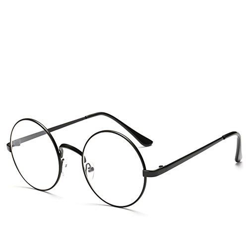 Wanfor Oversized Kreis Retro Brillen, Metallrahmen Spiegel Sonnenbrille, Frames Unisex Brillen (Schwarz)
