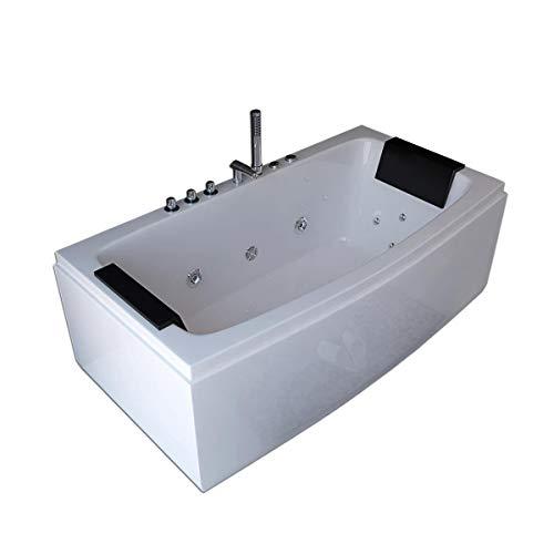 Luxus Whirlpool Badewanne Neapel 170 x 80 cm mit 12 Massage Düsen + Armaturen Wanne mit Kopfstützen Hot Tub Spa indoor / innen für 2 Personen freistehend an nur 1 Wand oder Eckmontage links rechts