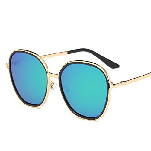 Ofliery Übergroße runde Sonnenbrille für Männer Damen Classic Metal Frame Round Circle Mirrored Sunglasses (Color : B)