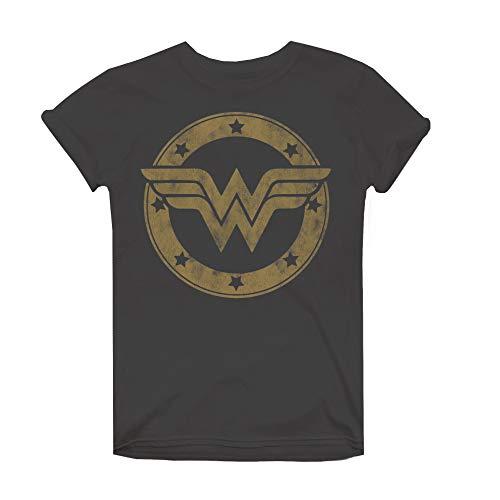 DC Comics Damen Wonder Woman Metallic Logo T-Shirt, Grau (Charcoal Cha), 38 (Herstellergröße: Medium) - Wonder Frauen Für Woman T-shirts