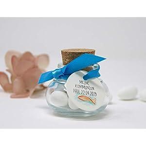 Korkenglas Gastgeschenk zur Kommunion, Konfirmation, Firmung, Taufe personalisiert - Colorful sea