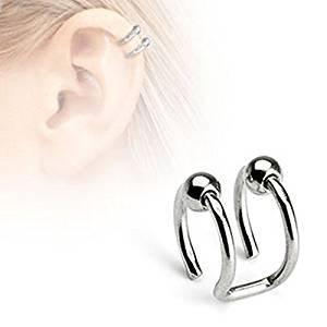 Doble cierre de cuentas anillo de clip en tragedia falsa o cartílago no piercing Material: Acero quirúrgico
