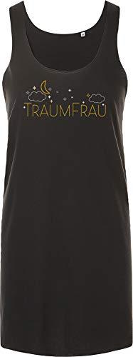 Nachthemd Damen: Traumfrau - Geschenk für Frauen - Nachtkleid - Negligee - Sleepshirt - Top - Schlafanzug Pyjama - Lang - Freundin - Frau - Schatz - Sexy - Weiß - Kurzarm - Dessous (Schwarz XL-XXL) -