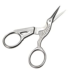 Generic Stainless Steel Crane Shape Cross Stitch Scissor Household DIY Sewing Craft Tool-silver