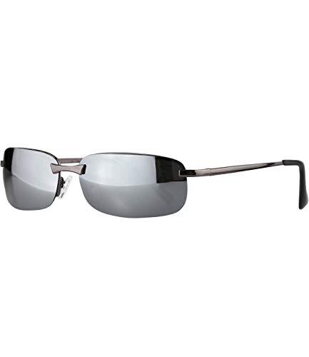Caripe sportliche Sonnenbrille Herren rechteckig rahmenlos verspiegelt - herso (One Size, 016 - metallic - silbergrau polarisiert)
