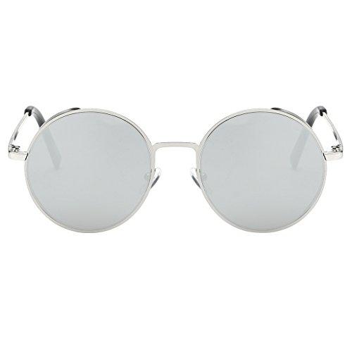 Prettyia Unisex Runde Polarisierte Kreis Sonnenbrille Hippie Vintage Hennen Gläser - Weiß