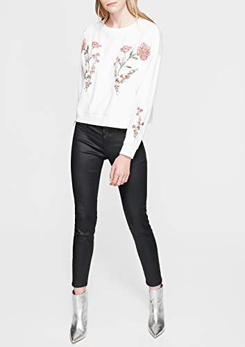 Mavi Damen Sweatshirt Embroidered, Weiß (Antique White 23851) Small