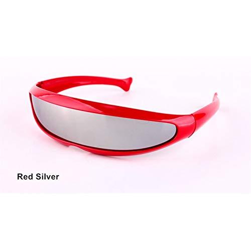 sijiaqi Lustige Alien Sonnenbrillen Männer X-Men Persönlichkeit Laser Brille Kühlen Siamesische Roboter Sonnenbrille Frauen Sonnenbrille Brille,Red Silver
