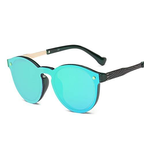 LKVNHP New Hohe Qualität Rose Gold Polarisierte Sonnenbrille Männer Frauen Unisex Sonnenbrille Für Mann Damen Runde Verspiegelte Shades Fashion Uv400Grün