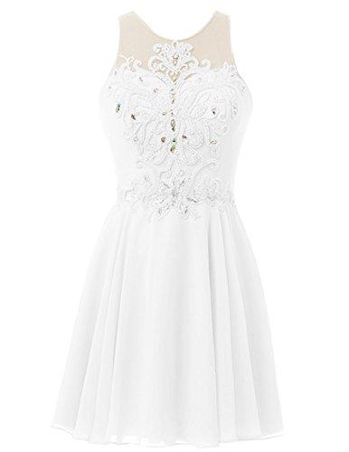 Dresstells Kurz Chiffon Brautjungfernkleider Homecomingkleider mit  Perlstickerei Elfenbein