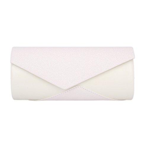 Day of Saturn Modern Damen Lang Asymmetrie Pailletten Abendtasche Weiß