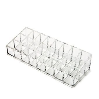 Hojo 24 Compartment Lipsticks Stand Acrylic Makeup Organizer Nail Polish Holder Clear Transparent Brush Compacts Eye Shadows